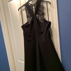 RW&CO Black A-Line midi dress w lace - size 12